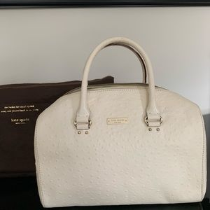 kate spade white ostrich embossed leather bag